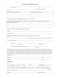 custody agreement examples temporary custody agreement form