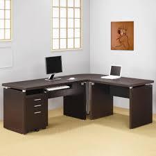 corner office table. Contemporary Dark Cappuccino L-Shape Desk Corner Office Table O