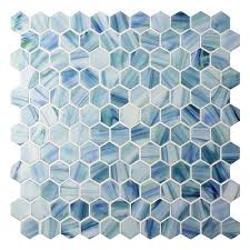 hexagon blue bgz022 pool tiles pool mosaics glass mosaic hexagon glass mosaic