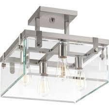 glayse collection 4 light brushed nickel semi flushmount