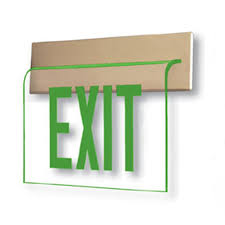 Edge Lit Exit Light Wall Recessed Edge Lit Exit Sign With Green Letters