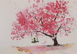 trees painting swing on cherry tree by anwar sahib