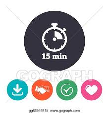Timer For 15 Min Eps Vector Timer Sign Icon 15 Minutes Stopwatch Symbol Stock