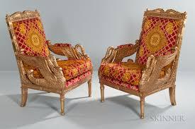 Pair of Versace Swan Throne Chairs ...