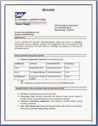 Gallery Of Sap Sd Resume Format Sample Resume Format Pdf Free