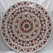 42 round marble patio coffee table top inlay carnelian stones handmade art