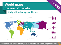 Powerpoint World Powerpoint Template World Maps Continents Countries Population Transport Icons