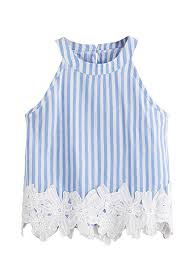 Shein Womens Appliques Sleeveless Striped Linen Off