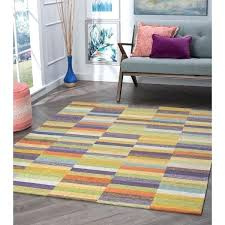 acrylic chenille area rug multi color block texture and thresholdtm