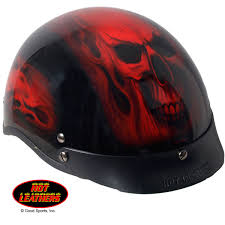 hot leathers d o t red skull helmet