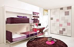 Loft Bed Small Bedrooms Bedroom Colorfull Fabric Area Rug Grey Modern Wooden Bunk Bed