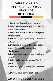 Questions To Prepare For Your Next Job Interview Interview
