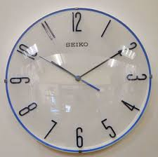 office wall clocks large. SEIKO Round White And Bright Blue Wall Clock QXA672W Office Clocks Large T
