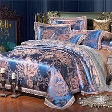 royal blue and gold royal wedding themed vintage fl 100 cotton satin full queen size bedding sets