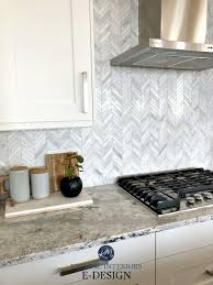 herringbone marble backsplash in kitchen ideas to get the look of marble quartz countertop white cabinets design karly parker kylie m interiors edesign