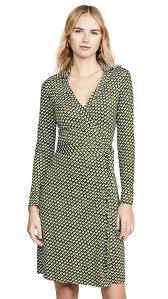 Jeanne Two Printed Silk Wrap Dress In Green