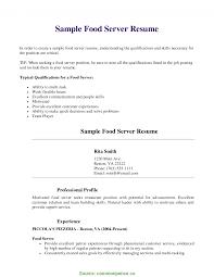 Briliant Resume For Restaurant Server With No Experience Server