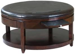 large round ottoman leather coffee table with storage and upholstered stora