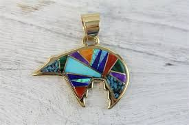 vintage touch santa fe 14k gold multi stone inlay bear pendant southwest luxury