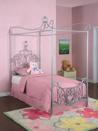 mesmerizing silver iron canopy twin size princess bed frames with pink fabric cover sheet as well as fl rugs in pink teen girls bedroom decors tips