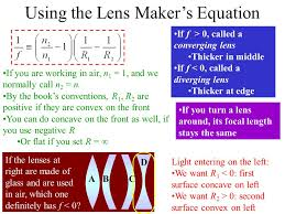 using the lens maker s equation