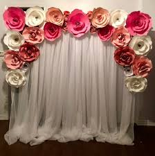 Paper Flower Wall Rental Pink And White Paper Flower Wall