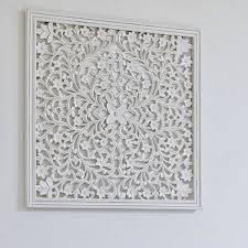 grey hand carved wall panel medium