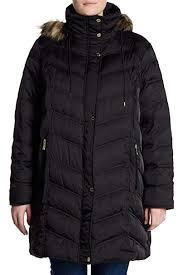 Kenneth Cole New York Womens Plus Size Chevron Down Coat With Faux Fur Trim