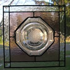 stained glass panel with princess depression glass plate
