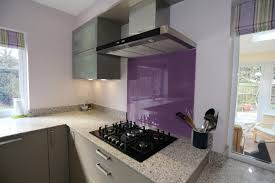 Purple Kitchen Contemporary Modern Shiny Grey Kitchen With Purple Splashback And