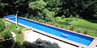 sophisticated long rectangular pool with iron fencing also natural green trees like jungle backyard views