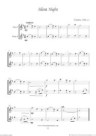 sheet music silent night free silent night sheet music for two flutes high quality