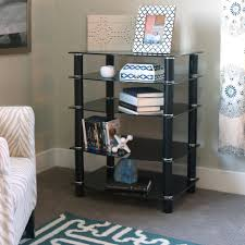 Tv Stereo Stands Cabinets Amazoncom Walker Edison 35 Glass Media Storage Tower Silver