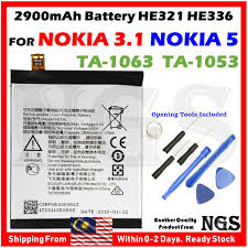 <b>Original 2900mAh</b> Battery HE321 <b>HE336</b> For Nokia 3.1 TA-1063 ...