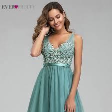<b>Ever Pretty</b> Dusty Blue <b>Bridesmaid Dresses</b> V-Neck Appliques ...