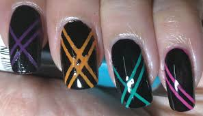 Black Stripes Nail Art Ars Arts