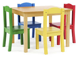 Amazon.com: Tot Tutors TC715 Primary Collection Kids Wood Table \u0026 4 Chair Set, Natural/Primary: Kitchen Dining