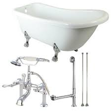 acrylic clawfoot bathtub in white and faucet combo in chrome