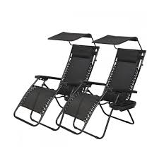 2 pcs zero gravity chair lounge patio chairs with canopy cup holder black size