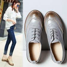 british style fashion round toe oxford shoes for women soft leather retro brogues women oxfords flat