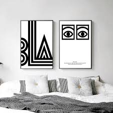 black white eye letters abstract canvas posters minimalist canvas art prints wall art painting decorative pictures on cheap black and white canvas wall art with black white eye letters abstract canvas posters minimalist canvas