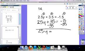 multi step equations clearing decimals variables on both sides and distributive property