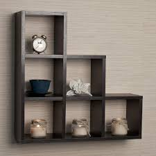 ... Wall Block Shelves Black Contemporary Wooden Shelf Dark Brown Wooden  Stairs Shelves With Six Shelves Placed ...