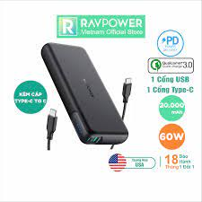 Pin Sạc Dự Phòng RAVPower 20000mAh Quick Charge 3.0 + PD 60W, In/Out  Type-C, Sạc Được Macbook - RP-PB201 - Hàng Phân PHối Chính Hãng