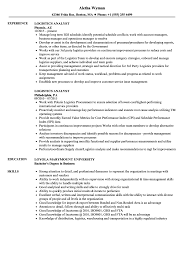 Logistics Analyst Resume Samples Velvet Jobs