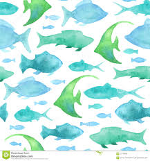 Fish Pattern Impressive Seamless Watercolor Fish Pattern Stock Vector Illustration Of