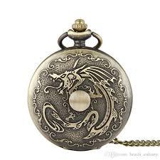 unique large dragon ball vintage pocket watch bronze pendant necklaces fob watches quartz watches men women punk jewelry gifts watch pocket