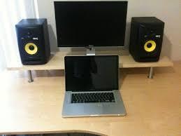 monitor and speaker desk platform