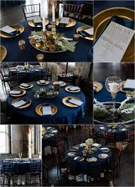 Blue And Gold Table Setting Brittanykyle Centerpiece4 Web Pretty Pinterest Runners