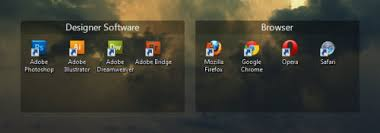 office organizer software. upon the first launch software will automatically help you organize existing icons into several dark transparent tabs but can them office organizer